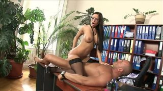 Gorgeous secretary in sexy glasses Angelica Heart and stockings gets banged hard by her boss