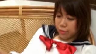 Ai Kazumi in school uniform sucks cock and gets