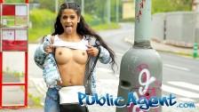 Public Agent sexy brunette Sandra Soul fucked in public